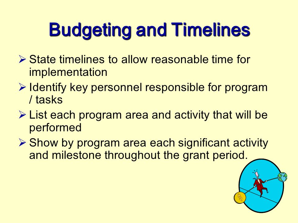 Funders (Federal or Private) generally require an applicant to follow a particular format and submit completed standard forms. Budget Grant applicatio