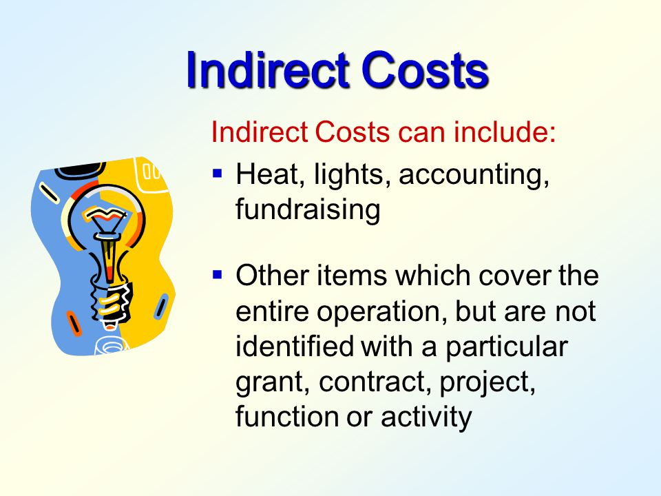 They are not classified as Direct Costs. Direct Costs include:  Salaries  Fringe Benefits  Consultant Services  Travel  Materials, supplies, equi