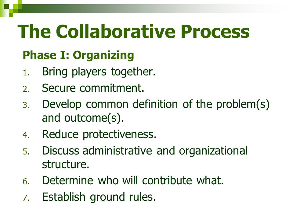 Define Working Principles 1. Why collaboration is best option. 2. Mission and vision of collaboration. 3. Mandates or requirements. 4. Constituencies
