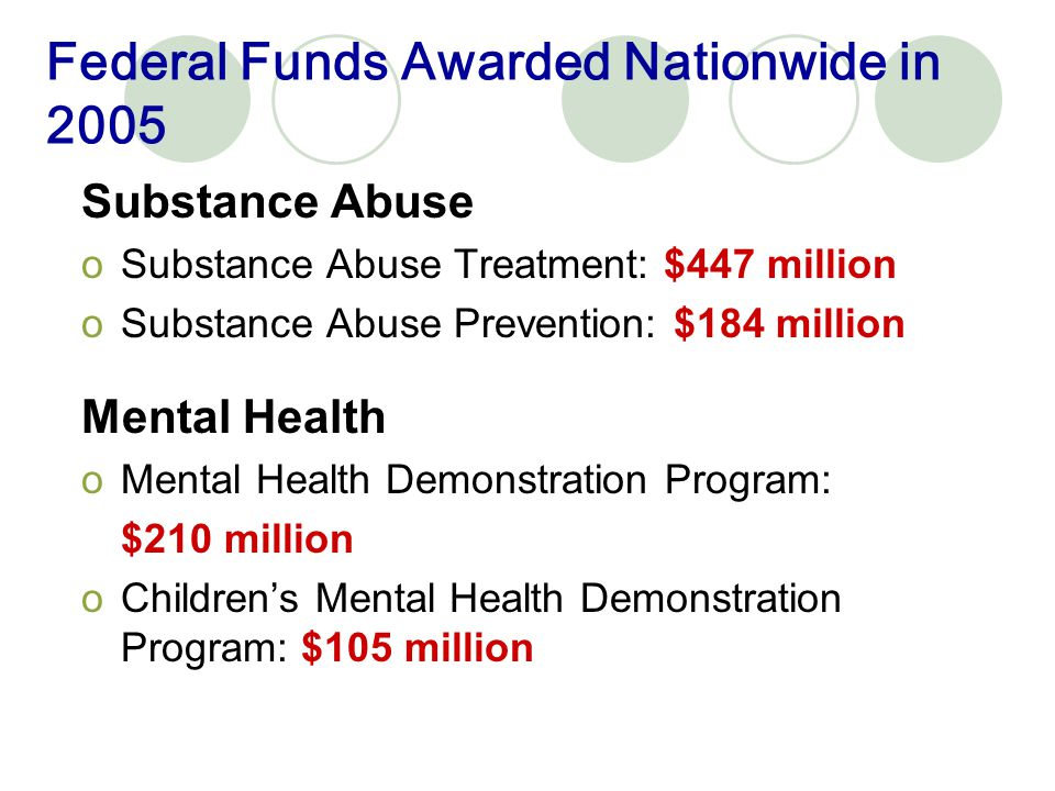 Federal Funds Awarded Nationwide in 2005 Human Services oRunaway Youth Basic Center Program: $49 million oMentoring Children of Prisoners: $50 million