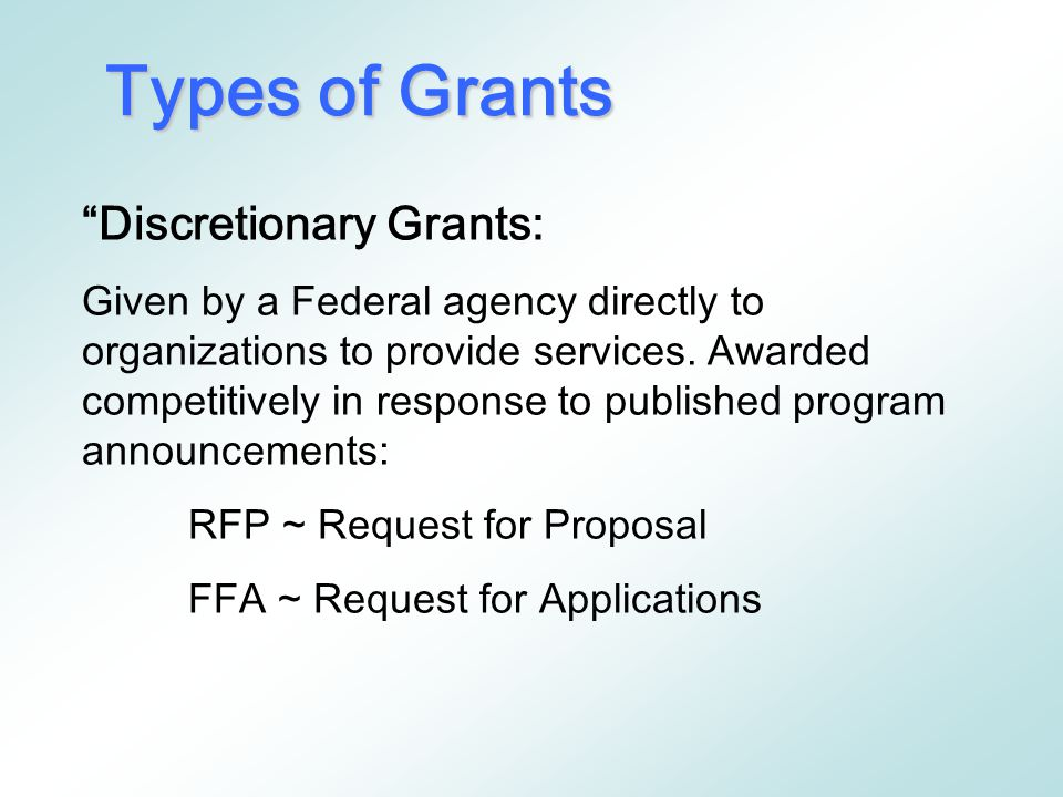 5. Planning / Coordinating: Funds are made available to coordinate programs among several agencies. Types of Proposals