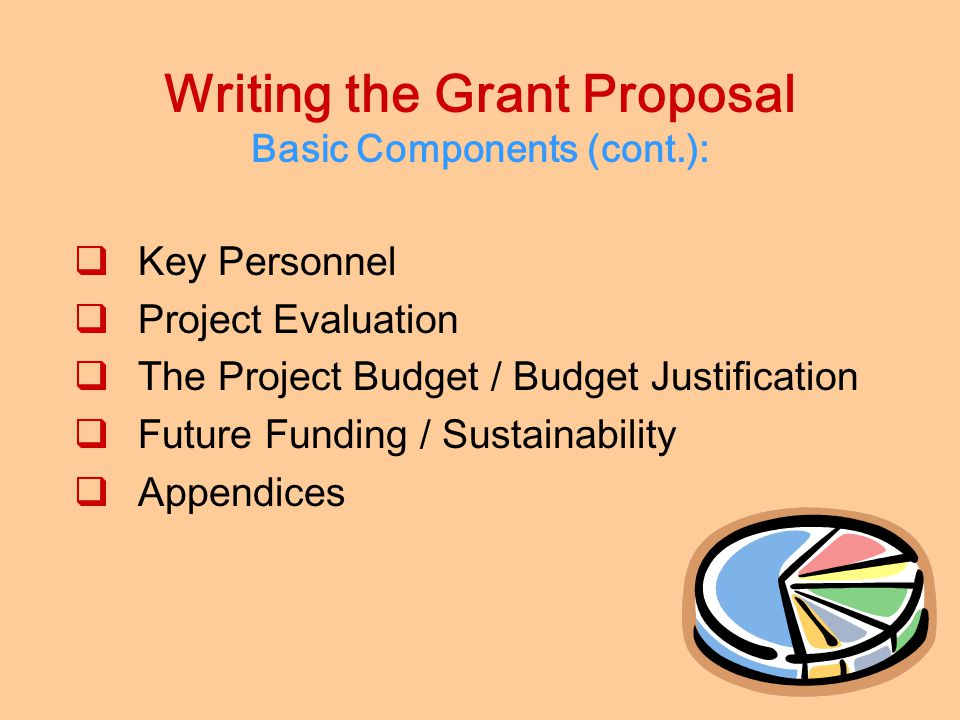 Writing the Grant Proposal Basic Components:  The Cover Letter  The Abstract / Summary  Introduction of Organization / Capacity & Qualifications 