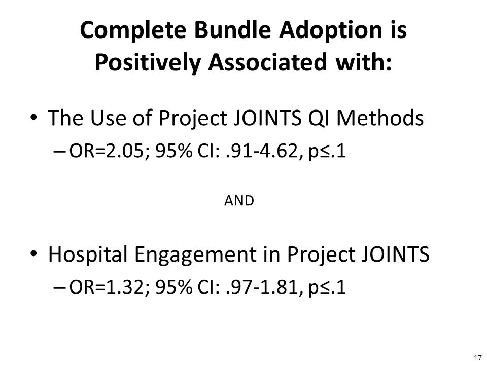 17 Complete Bundle Adoption is Positively Associated with: The Use of Project JOINTS QI Methods – OR=2.05; 95% CI:.91-4.62, p≤.1 AND Hospital Engagement in Project JOINTS – OR=1.32; 95% CI:.97-1.81, p≤.1