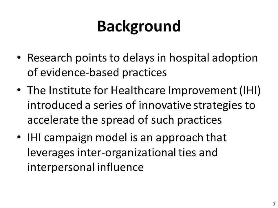 4 Project JOINTS Project JOINTS (Joining Organizations IN Tackling SSIs) is one of the latest IHI campaigns Two cohorts of hospitals (n=323) from 10 U.S.