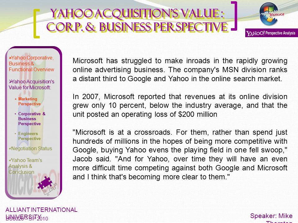 Yahoo Acquisition's Value : Corp. & Business Perspective Speaker: Mike Thornton ALLIANT INTERNATIONAL UNIVERSITY BU6020 – SP 2010  Yahoo Corporative,