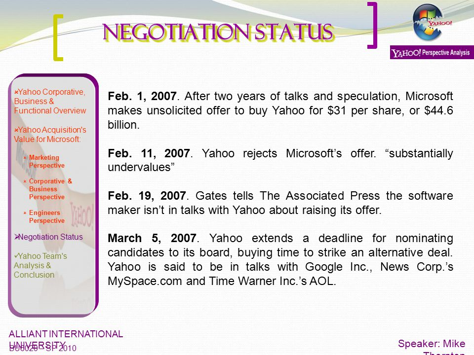  Yahoo Corporative, Business & Functional Overview  Yahoo Acquisition's Value for Microsoft:  Marketing Perspective  Corporative & Business Perspe