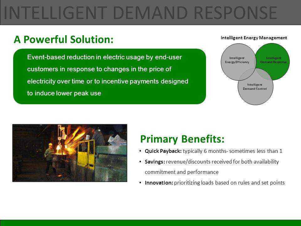 INTELLIGENT DEMAND RESPONSE Event-based reduction in electric usage by end-user customers in response to changes in the price of electricity over time or to incentive payments designed to induce lower peak use Quick Payback: typically 6 months- sometimes less than 1 Savings: revenue/discounts received for both availability commitment and performance Innovation: prioritizing loads based on rules and set points A Powerful Solution: Primary Benefits: Intelligent Demand Response Intelligent Energy Efficiency Intelligent Energy Management Intelligent Demand Control