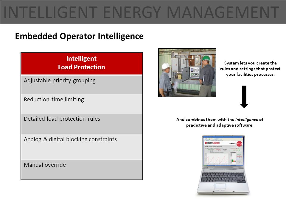 Embedded Operator Intelligence Intelligent Load Protection Adjustable priority grouping Reduction time limiting Detailed load protection rules Analog & digital blocking constraints Manual override INTELLIGENT ENERGY MANAGEMENT System lets you create the rules and settings that protect your facilities processes.
