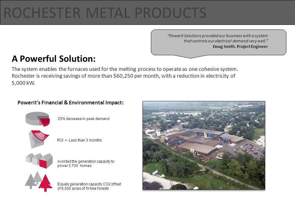 ROCHESTER METAL PRODUCTS A Powerful Solution: The system enables the furnaces used for the melting process to operate as one cohesive system.