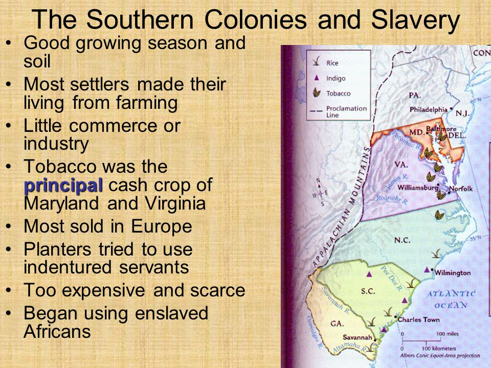 The Southern Colonies and Slavery Good growing season and soil Most settlers made their living from farming Little commerce or industry principalTobac