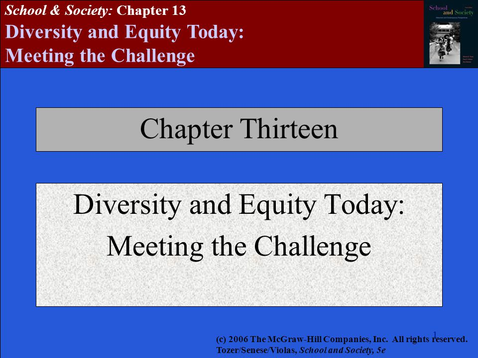 2222222 School & Society: Chapter 13 Diversity and Equity Today: Meeting the Challenge Society in the Classroom Wider society influences what goes on in the classroom, for better or for worse Racism and sexism present and often unchallenged in the structures of schooling Jane Elliott's Discrimination Day exercises  Members of a group identified as superior literally tend to act and feel superior; those identified as inferior also react accordingly (c) 2006 The McGraw-Hill Companies, Inc.