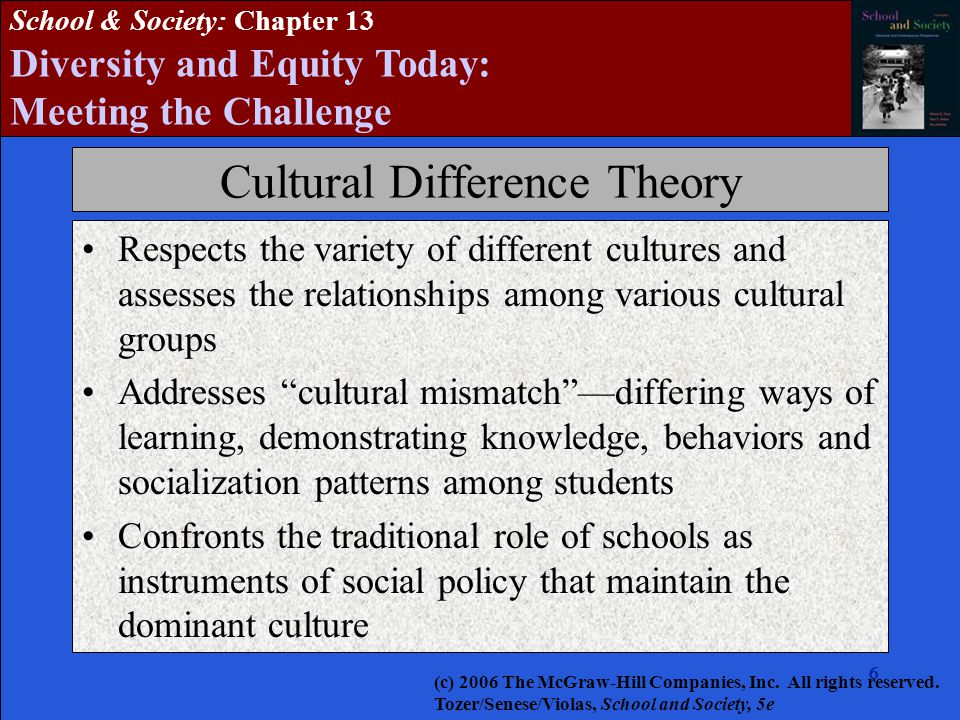 6666666 School & Society: Chapter 13 Diversity and Equity Today: Meeting the Challenge Cultural Difference Theory Respects the variety of different cultures and assesses the relationships among various cultural groups Addresses cultural mismatch —differing ways of learning, demonstrating knowledge, behaviors and socialization patterns among students Confronts the traditional role of schools as instruments of social policy that maintain the dominant culture (c) 2006 The McGraw-Hill Companies, Inc.