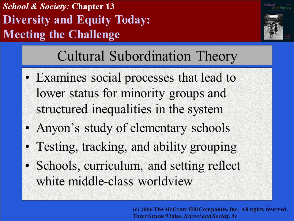 7777777 School & Society: Chapter 13 Diversity and Equity Today: Meeting the Challenge Cultural Subordination Theory Examines social processes that lead to lower status for minority groups and structured inequalities in the system Anyon's study of elementary schools Testing, tracking, and ability grouping Schools, curriculum, and setting reflect white middle-class worldview (c) 2006 The McGraw-Hill Companies, Inc.