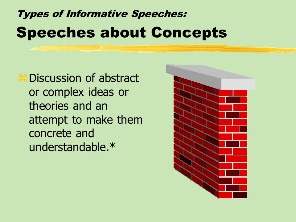 Types of Informative Speeches: Speeches about Concepts zDiscussion of abstract or complex ideas or theories and an attempt to make them concrete and understandable.*