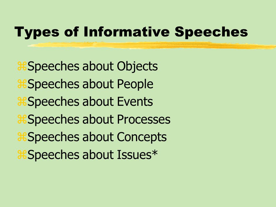Types of Informative Speeches zSpeeches about Objects zSpeeches about People zSpeeches about Events zSpeeches about Processes zSpeeches about Concepts zSpeeches about Issues*