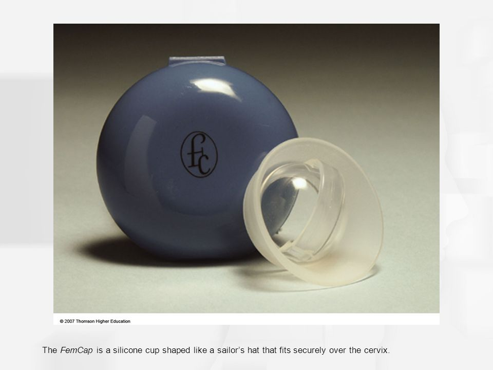 The FemCap is a silicone cup shaped like a sailor's hat that fits securely over the cervix.