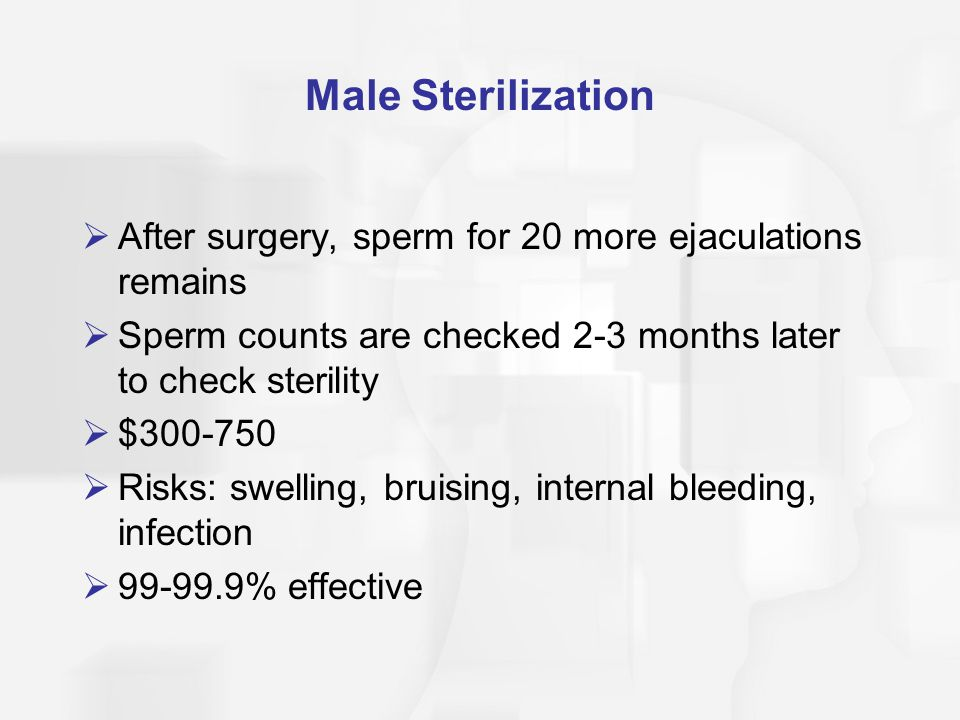 Male Sterilization  After surgery, sperm for 20 more ejaculations remains  Sperm counts are checked 2-3 months later to check sterility  $300-750 