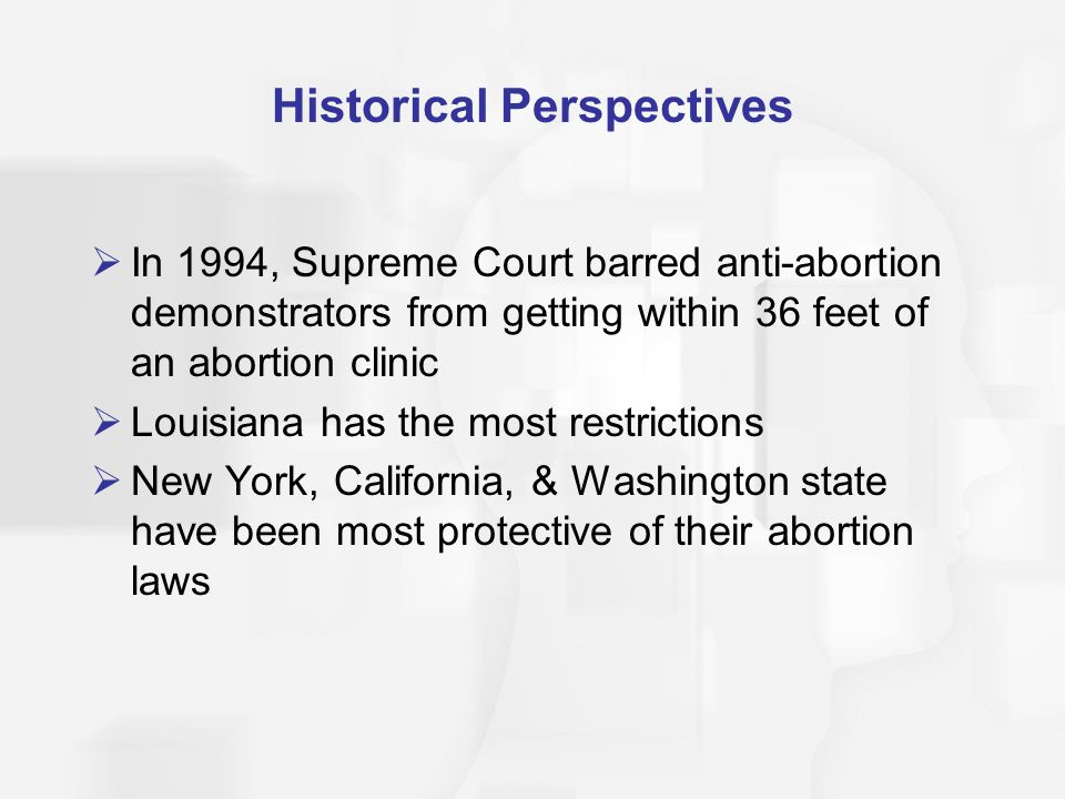 Historical Perspectives  In 1994, Supreme Court barred anti-abortion demonstrators from getting within 36 feet of an abortion clinic  Louisiana has