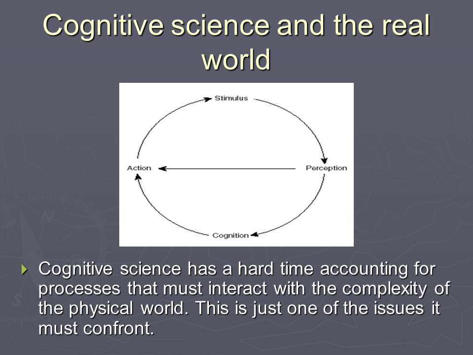 Cognitive science and the real world  Cognitive science has a hard time accounting for processes that must interact with the complexity of the physical world.
