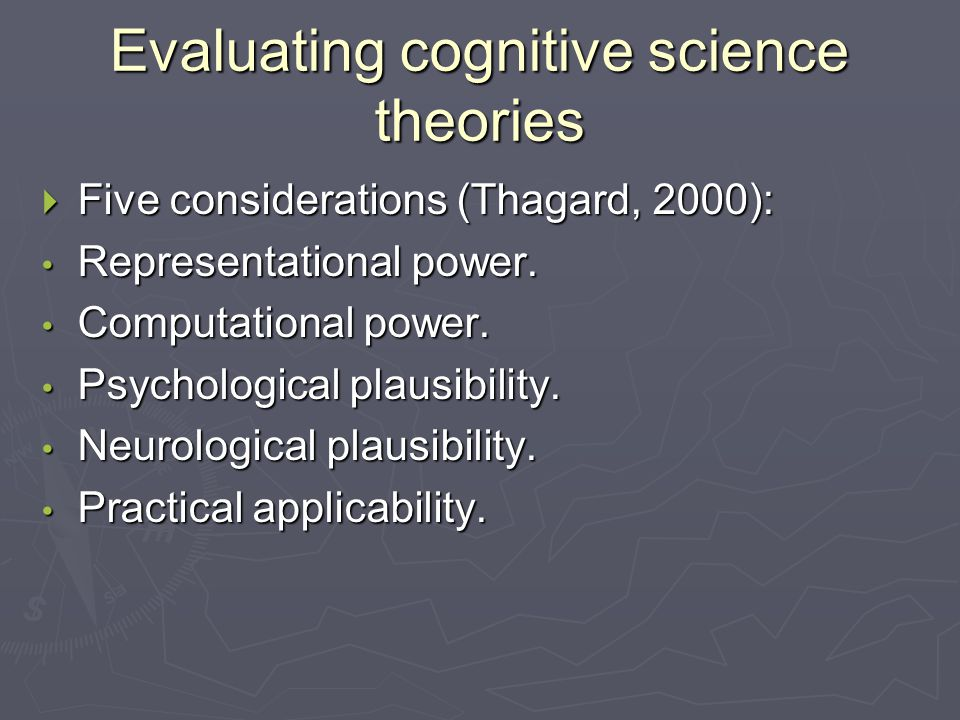 Evaluating cognitive science theories  Five considerations (Thagard, 2000): Representational power.