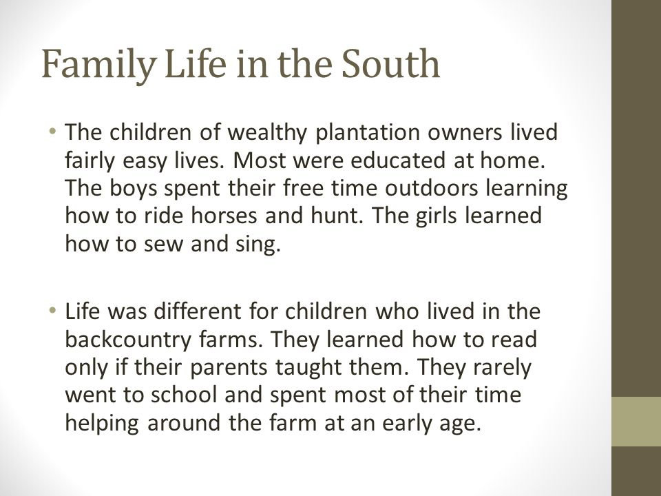 Family Life in the South The children of wealthy plantation owners lived fairly easy lives. Most were educated at home. The boys spent their free time