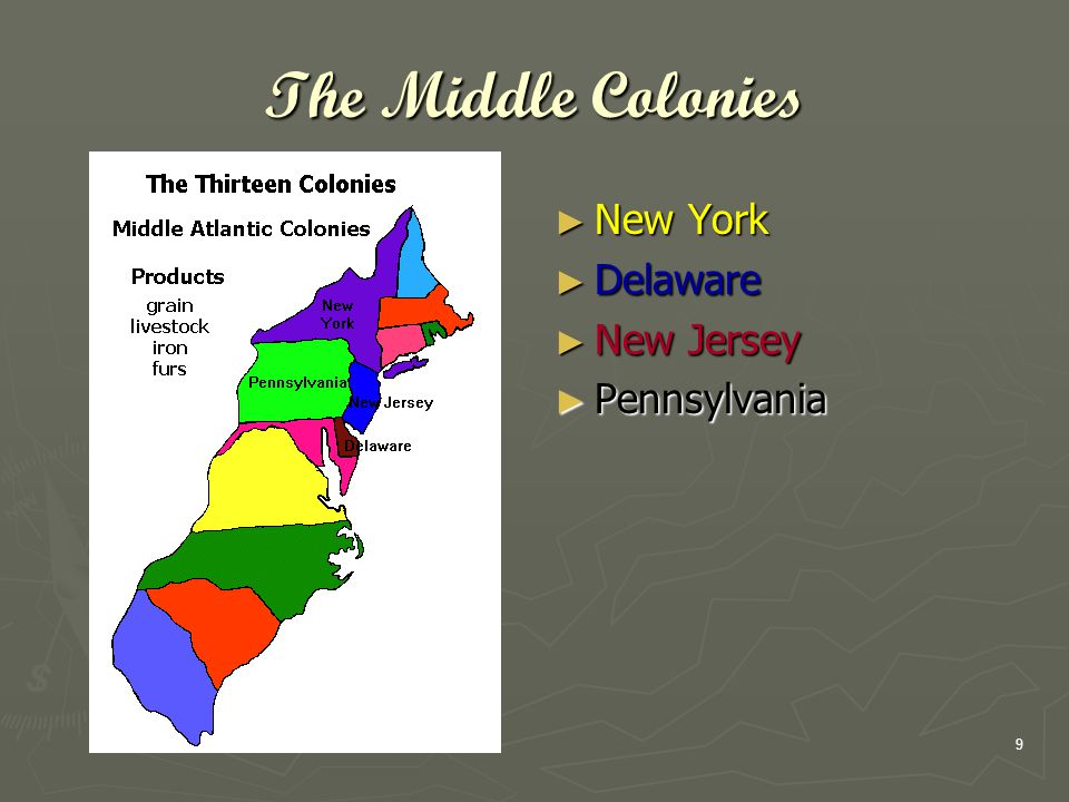 9 The Middle Colonies ► New York ► Delaware ► New Jersey ► Pennsylvania