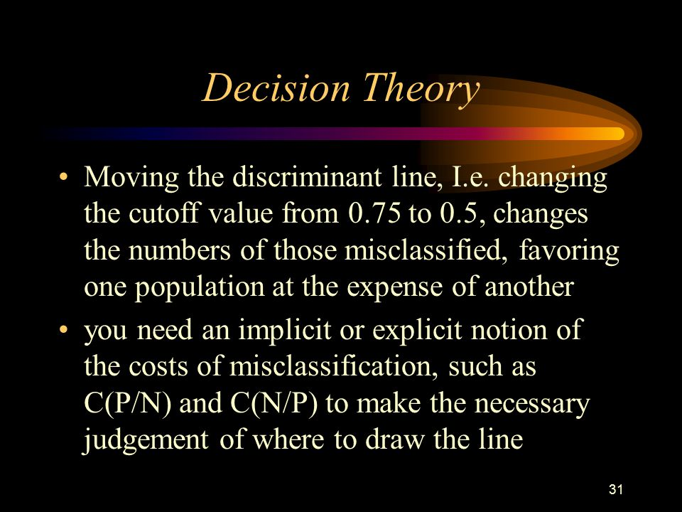 31 Decision Theory Moving the discriminant line, I.e.