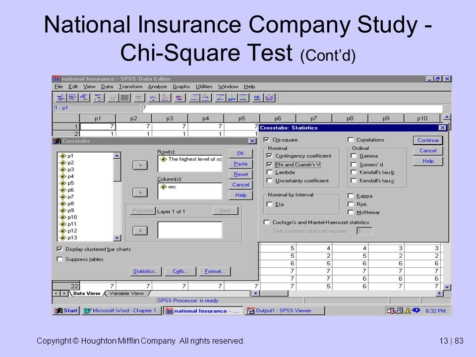 Copyright © Houghton Mifflin Company. All rights reserved.13 | 83 National Insurance Company Study - Chi-Square Test (Cont'd)