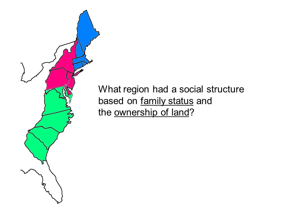 What region had a social structure based on family status and the ownership of land?