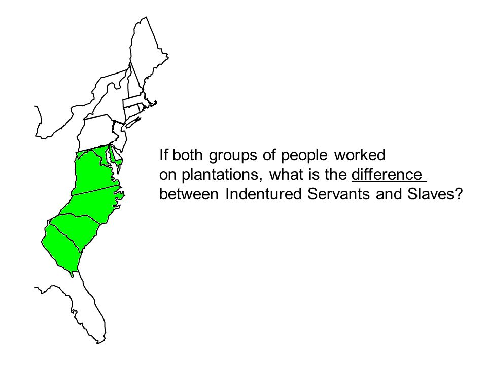 If both groups of people worked on plantations, what is the difference between Indentured Servants and Slaves?