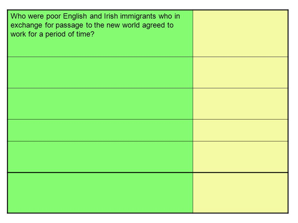 Who were poor English and Irish immigrants who in exchange for passage to the new world agreed to work for a period of time?