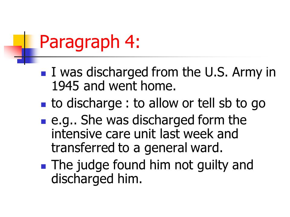 Paragraph 4: I was discharged from the U.S. Army in 1945 and went home.