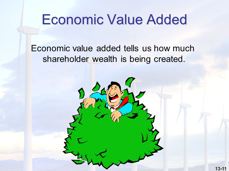 13-11 Economic Value Added Economic value added tells us how much shareholder wealth is being created.