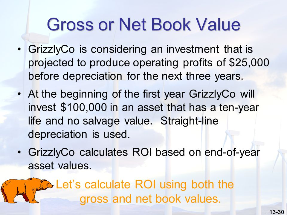 13-30 Gross or Net Book Value GrizzlyCo is considering an investment that is projected to produce operating profits of $25,000 before depreciation for the next three years.