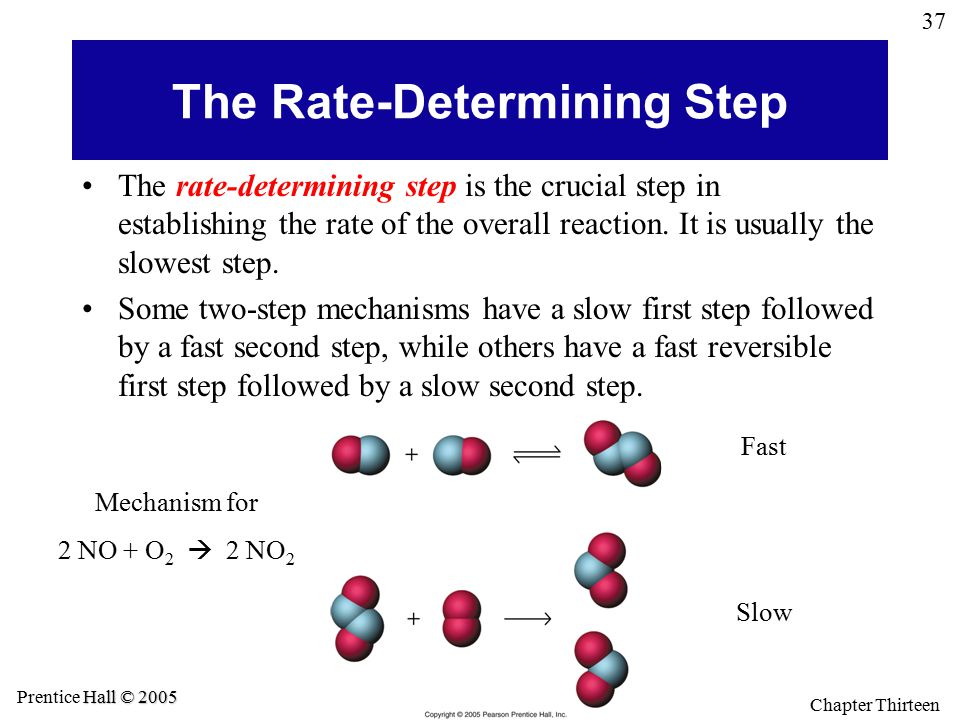 37 General Chemistry 4 th edition, Hill, Petrucci, McCreary, Perry Hall © 2005 Prentice Hall © 2005 Chapter Thirteen The Rate-Determining Step The rat