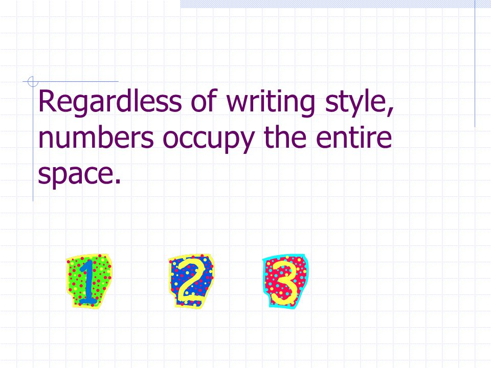 Regardless of writing style, numbers occupy the entire space.