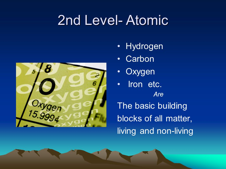 2nd Level- Atomic Hydrogen Carbon Oxygen Iron etc.
