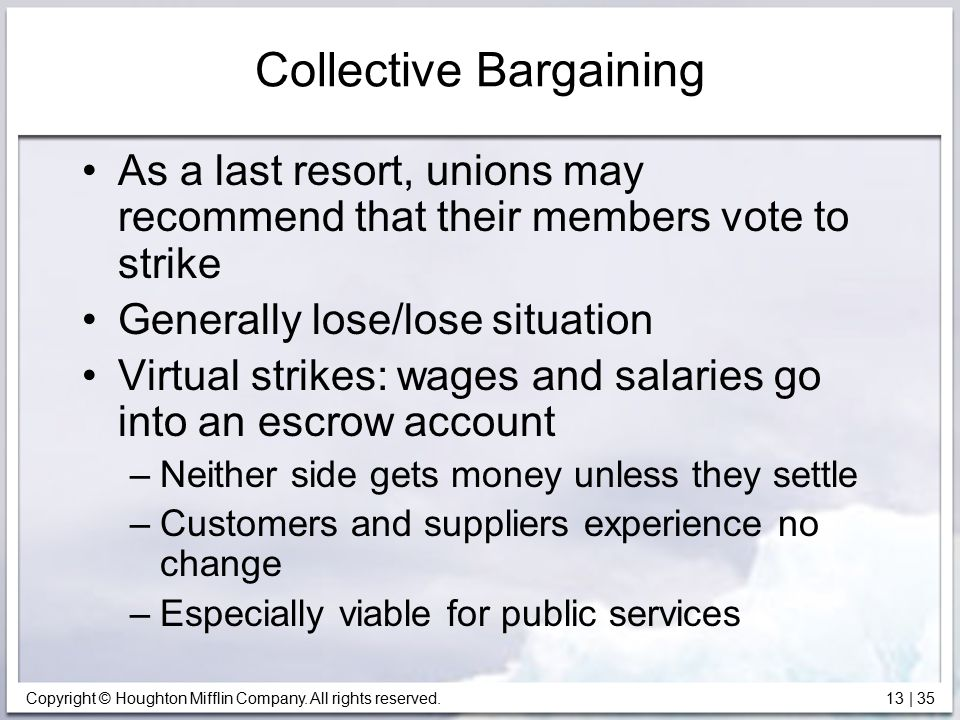 Copyright © Houghton Mifflin Company. All rights reserved. 13 | 35 Collective Bargaining As a last resort, unions may recommend that their members vot