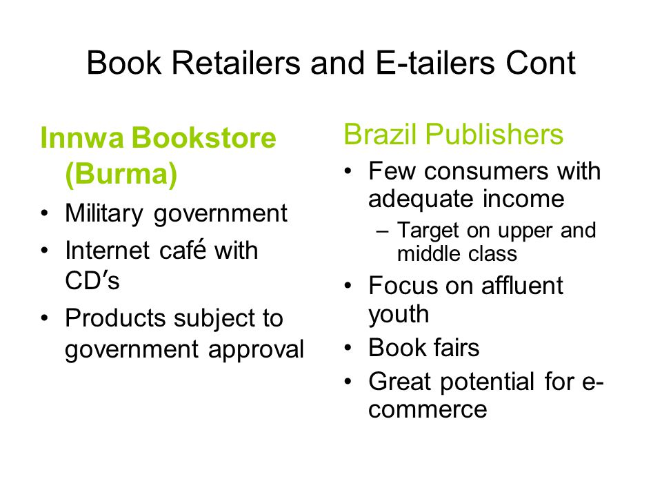 Book Retailers and E-tailers Cont Innwa Bookstore (Burma) Military government Internet caf é with CD ' s Products subject to government approval Brazil Publishers Few consumers with adequate income –Target on upper and middle class Focus on affluent youth Book fairs Great potential for e- commerce