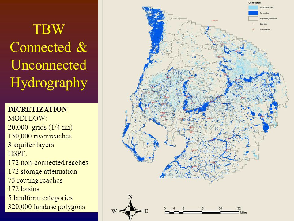TBW Connected & Unconnected Hydrography DICRETIZATION MODFLOW: 20,000 grids (1/4 mi) 150,000 river reaches 3 aquifer layers HSPF: 172 non-connected reaches 172 storage attenuation 73 routing reaches 172 basins 5 landform categories 320,000 landuse polygons