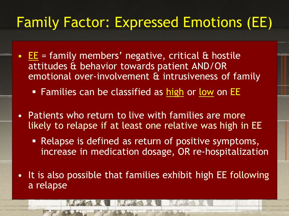 Family Factor: Expressed Emotions (EE) EE = family members' negative, critical & hostile attitudes & behavior towards patient AND/OR emotional over-in