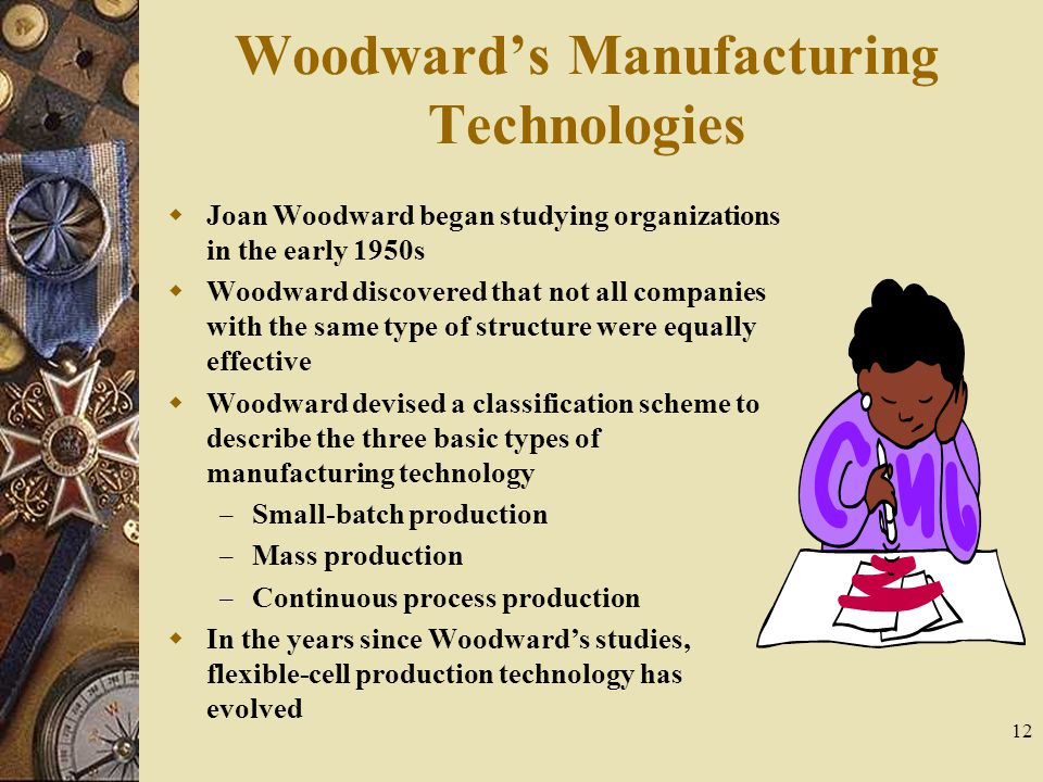 12 Woodward's Manufacturing Technologies  Joan Woodward began studying organizations in the early 1950s  Woodward discovered that not all companies