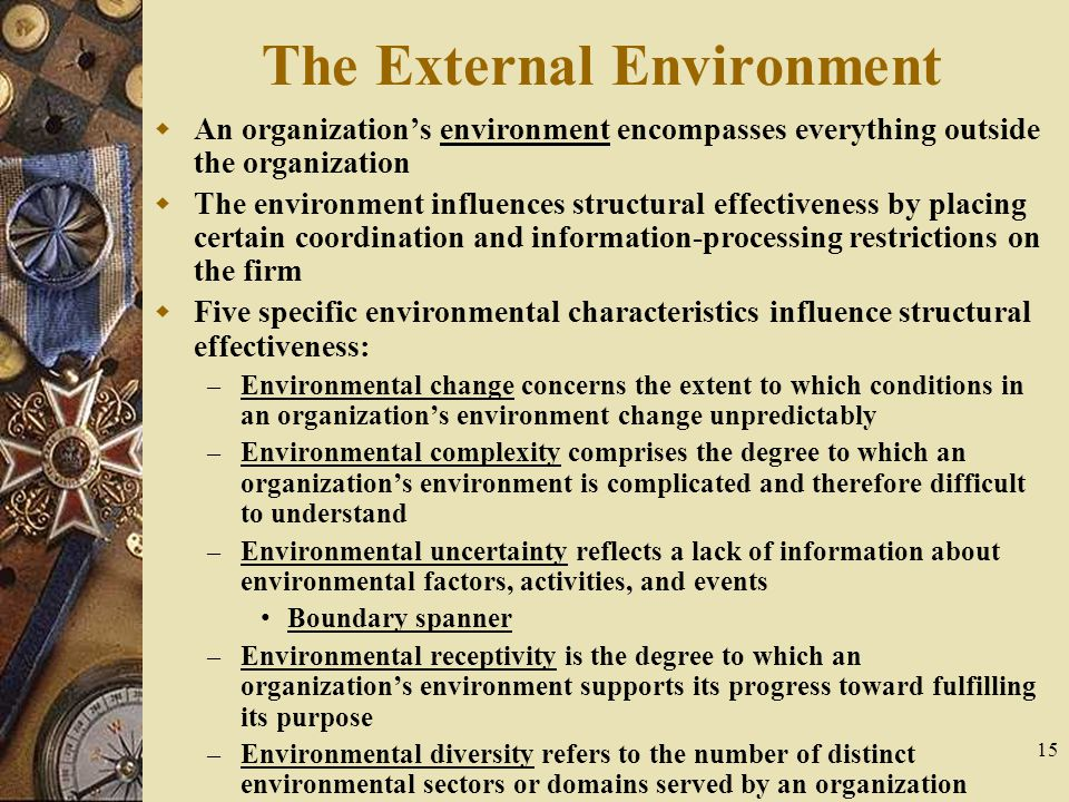 15 The External Environment  An organization's environment encompasses everything outside the organization  The environment influences structural ef