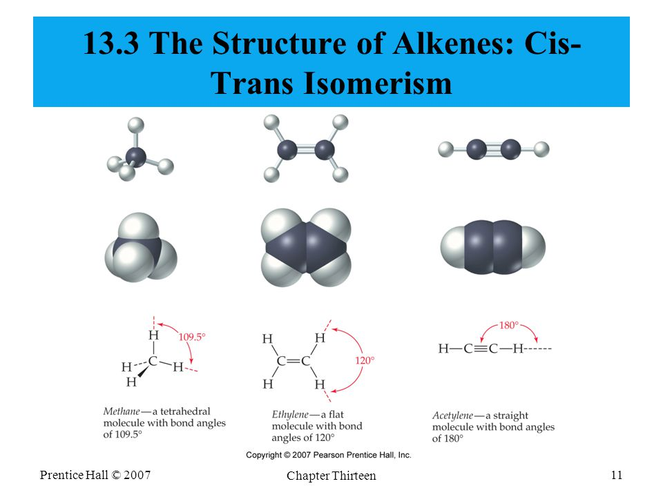 Prentice Hall © 2007 Chapter Thirteen 11 13.3 The Structure of Alkenes: Cis- Trans Isomerism