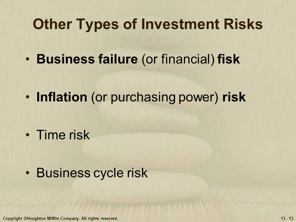 Copyright ©Houghton Mifflin Company. All rights reserved.13 - 13 Other Types of Investment Risks Business failure (or financial) fisk Inflation (or pu