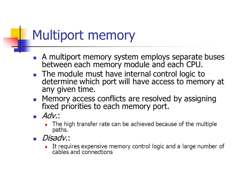Multiport memory A multiport memory system employs separate buses between each memory module and each CPU. The module must have internal control logic
