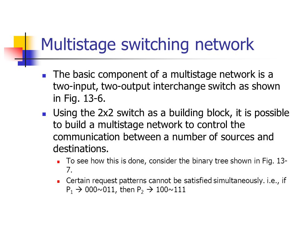 Multistage switching network The basic component of a multistage network is a two-input, two-output interchange switch as shown in Fig. 13-6. Using th