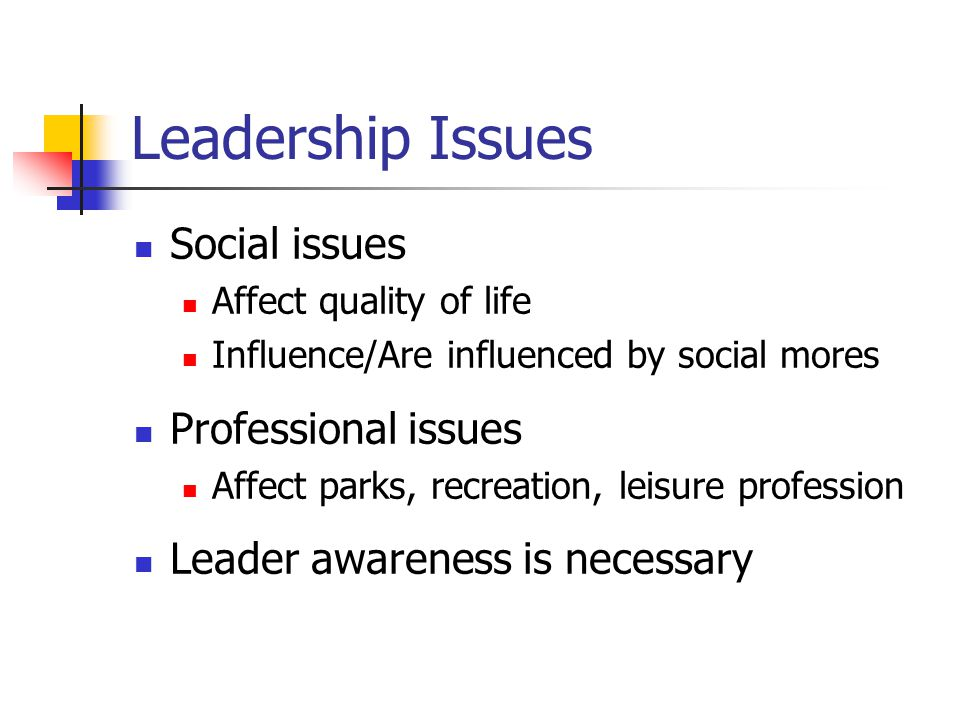 Leadership Issues Social issues Affect quality of life Influence/Are influenced by social mores Professional issues Affect parks, recreation, leisure profession Leader awareness is necessary