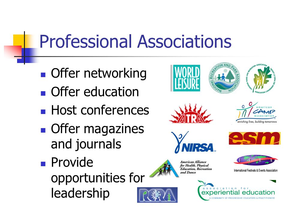 Professional Associations Offer networking Offer education Host conferences Offer magazines and journals Provide opportunities for leadership