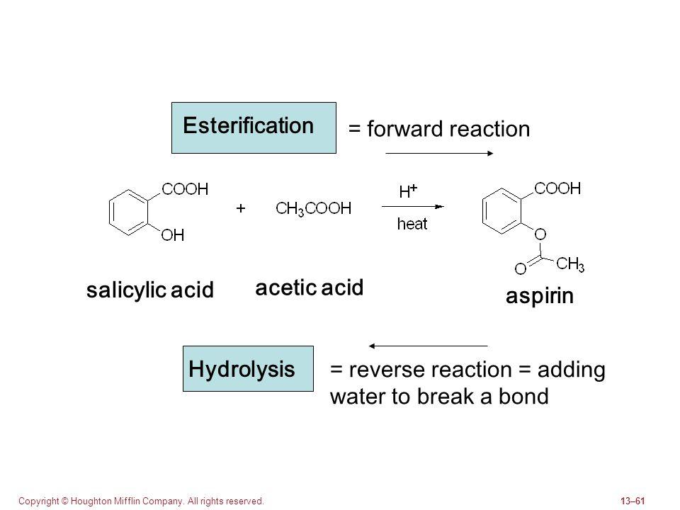 Copyright © Houghton Mifflin Company. All rights reserved.13–61 salicylic acid aspirin Esterification Hydrolysis = forward reaction = reverse reaction